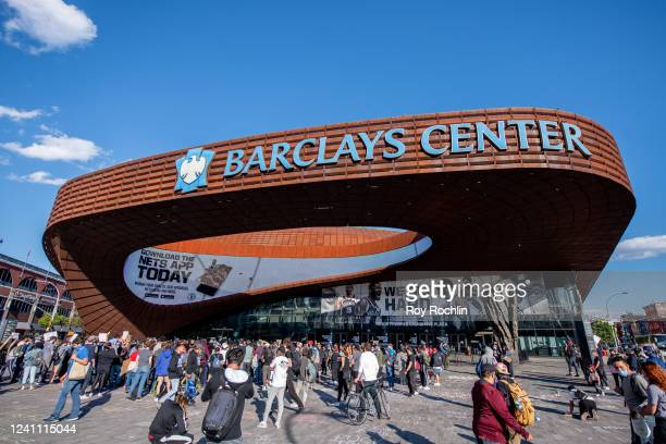 View of Barclays Center, home stadium to the Brooklyn Nets Basketball team on June 01, 2020 in New York City.