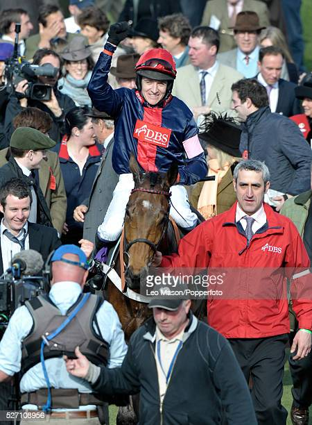 View of Barry Geraghty and Bobs Worth being led in to the unsaddling enclosure after winning the RSA Chase during the 2012 Cheltenham National Hunt...
