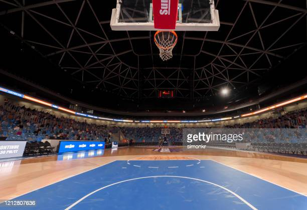 view of basketball court - stadium stock pictures, royalty-free photos & images