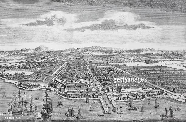 View of Batavia, forward progression, behind dome of the town house, around the city of rice fields, Dutch East India Company in Asia, Indonesia /...