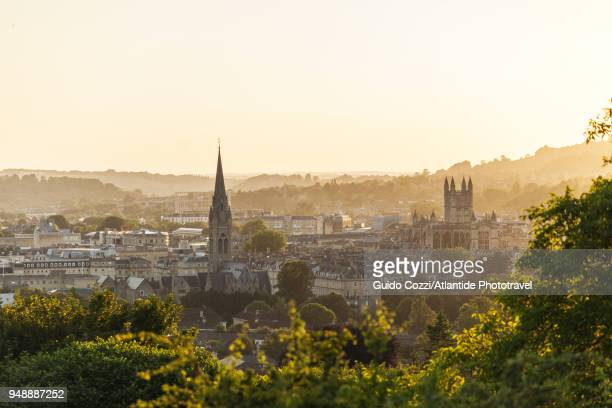 view of bath from bathwick meadows - bath england stock pictures, royalty-free photos & images