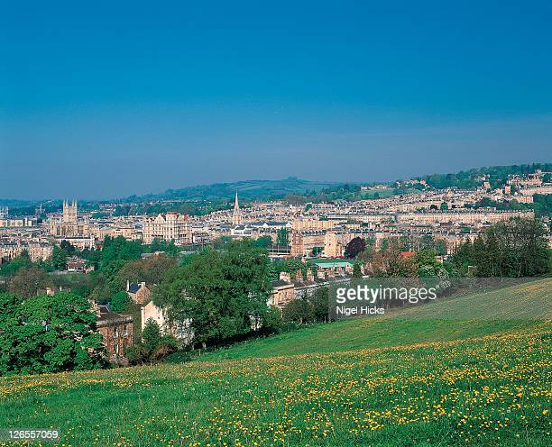 a view of bath from surrounding hills - bath england stock pictures, royalty-free photos & images