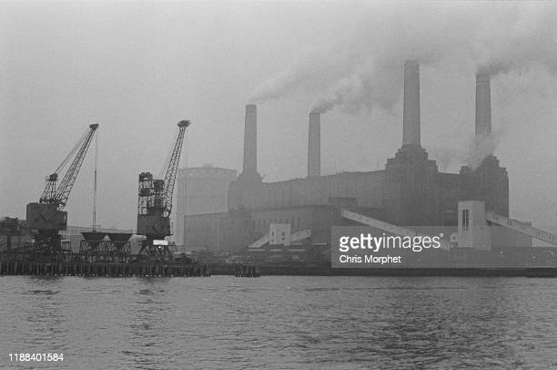 A view of Battersea Power Station on the south bank of the Thames London 28th December 1966