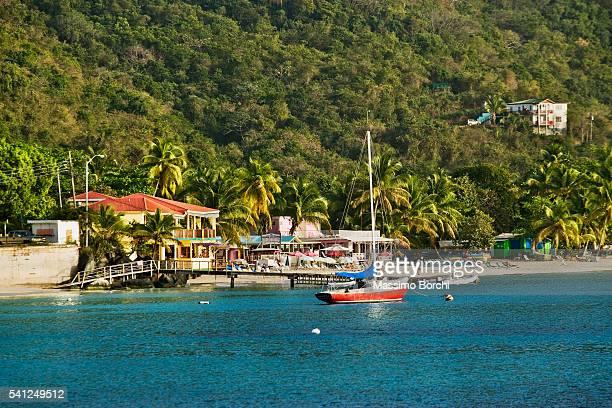 view of bay, cane garden bay, tortola island, british virgin islands - cane garden bay stock pictures, royalty-free photos & images