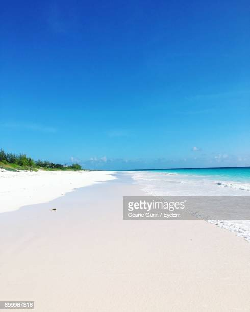 view of beach against clear blue sky - ダンモアタウン ストックフォトと画像