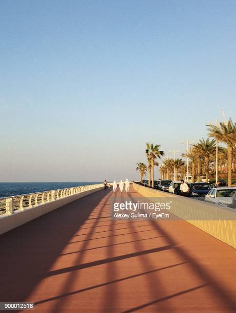 view of beach against clear sky - jumeirah stock pictures, royalty-free photos & images