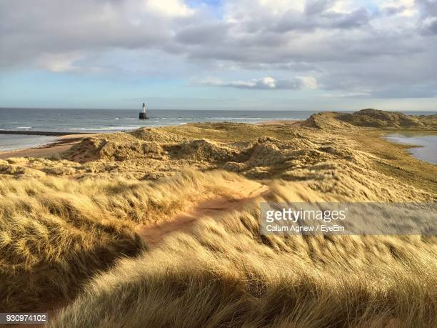 view of beach against cloudy sky - scotland stock pictures, royalty-free photos & images