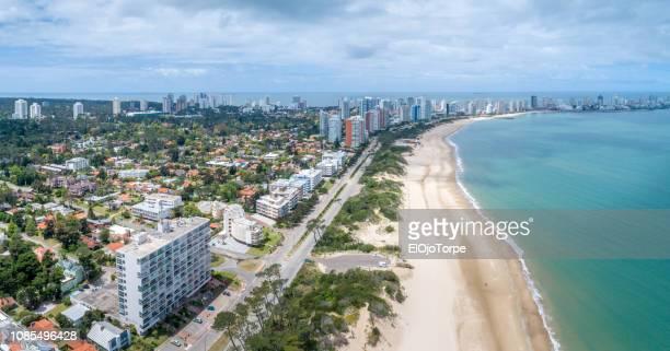 view of beach and coastline of punta del este, drone point of view, uruguay - maldonado uruguay stock pictures, royalty-free photos & images