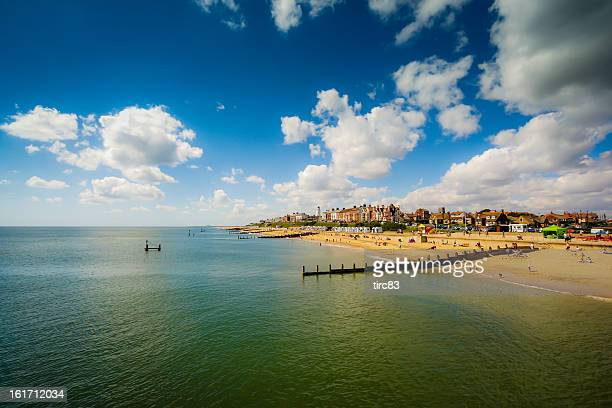 view of beach from pier at southwold in suffolk - suffolk england stock photos and pictures