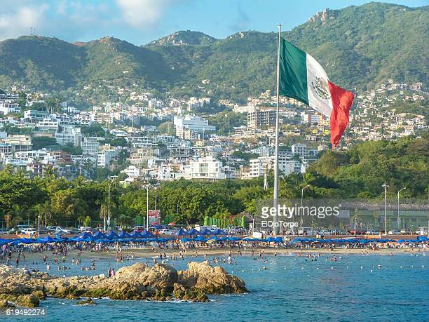 View of beach in Acapulco, Mexico