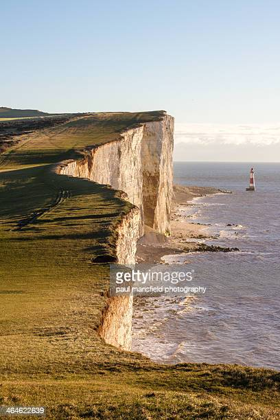 view of beachy head at dawn - beachy head stock photos and pictures