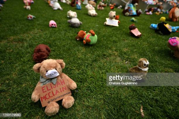 A view of BEAR THE TRUTH Protest A PopUp Art Curation of Teddy Bears for Children and Families in honor of #BlackLivesMatter at Los Angeles City Hall...