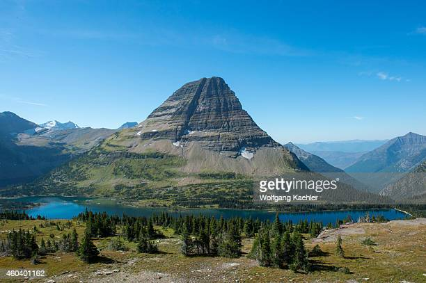 View of Bearhat Mountain above Hidden Lake at Logan Pass in Glacier National Park Montana United States