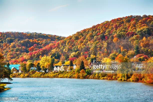 view of beautiful autumn landscape of warren, pennsylvania, usa - pennsylvania stock pictures, royalty-free photos & images
