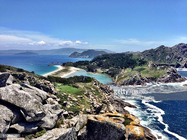 view of beautiful cies islands - galicia stock pictures, royalty-free photos & images
