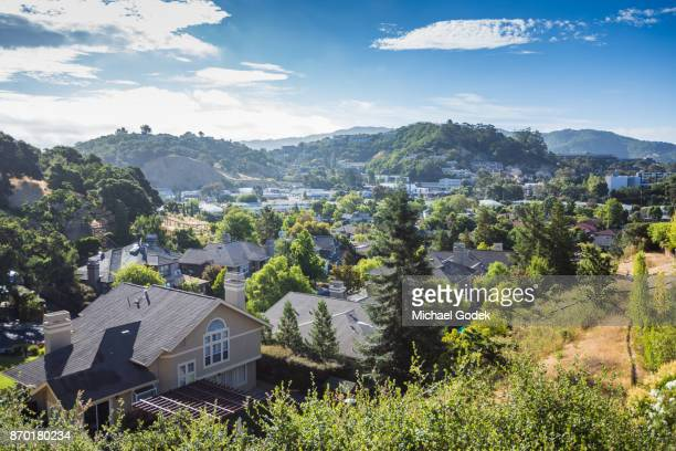 view of beautiful hills north of san fransisco - san rafael california stock pictures, royalty-free photos & images