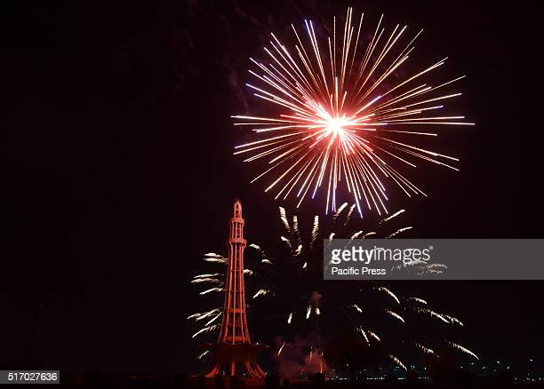 A view of beautiful multi colored fireworks at Historical place in MinarePakistan as the nation begins festivities regarding the Pakistan Day...
