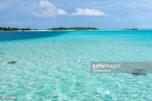 View of beautiful sea on island of Maldives