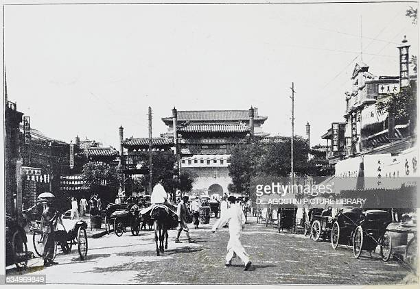 View of Beijing with the entrance to the Forbidden City in the background ca 1930 China 20th century