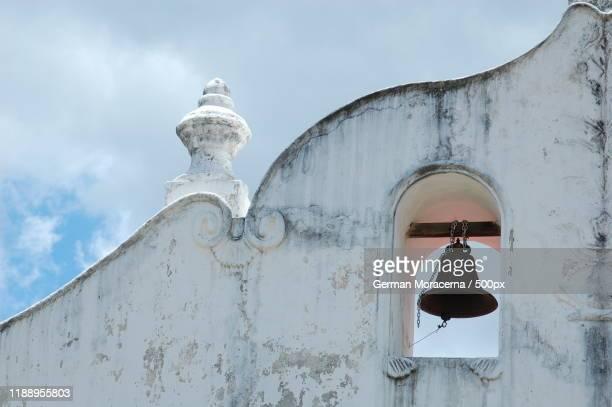 view of belfry on iglesia de san blas, nicoya, guanacaste, costa rica - guanacaste fotografías e imágenes de stock