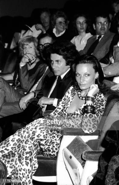 View of BelgianAmerican fashion designer Diane Von Furstenberg with an unidentified companion as they attend a screening of 'Andy Warhol's Flesh For...