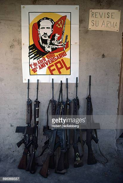 View of Belgian-made FN FAL automartic rifles against a wall in a Popular Forces of Liberation guerrilla camp, Almendritas, El Salvador, February 1,...
