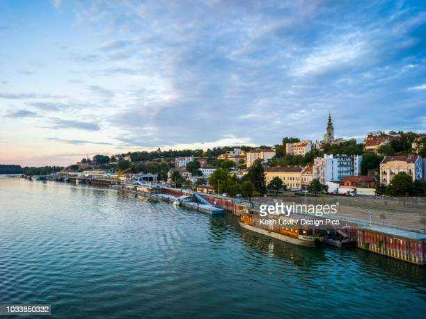 view of belgrade from the sava river - belgrade serbia stock pictures, royalty-free photos & images