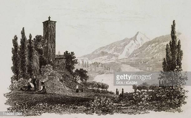 View of Bellagio Lake Como Italy engraving from La Svizzera pittoresca e i suoi dintorni by Alexandre Martin Mendrisio 1838