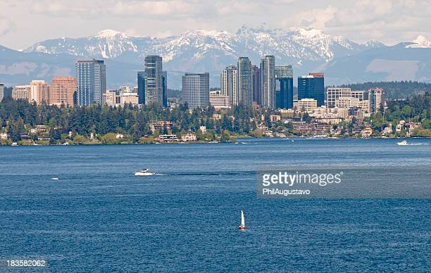 view of bellevue in washington state - bellevue washington state stock photos and pictures
