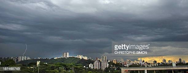 View of Belo Horizonte from the Governador Magalhaes Pinto Mineirao stadium on December 3 2012 The stadium will host both the Brazil 2013 FIFA...