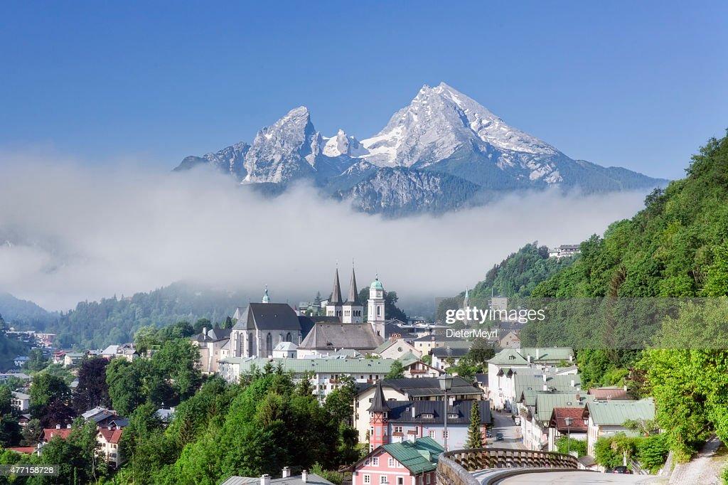 View of Berchtesgaden with Watzmann : Stock Photo