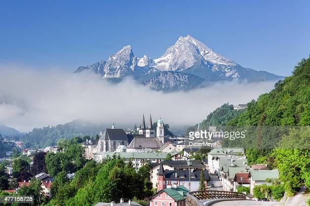 view of berchtesgaden with watzmann - berchtesgaden stock pictures, royalty-free photos & images