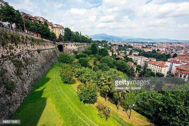 View of Bergamo city wall, Lombardy, Italy