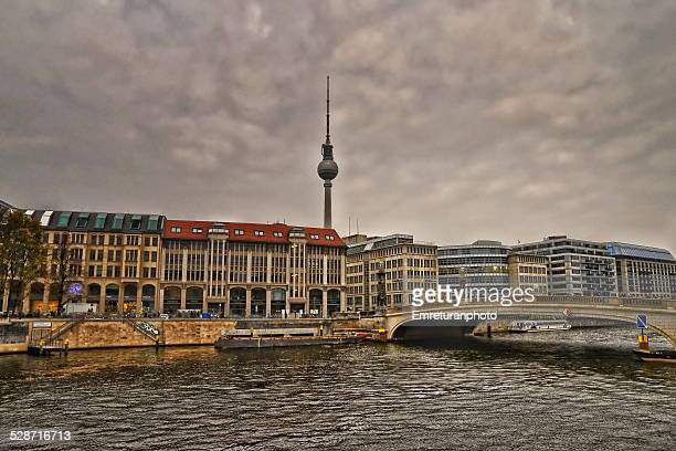view of berlin and tv tower from s\spree river - emreturanphoto bildbanksfoton och bilder