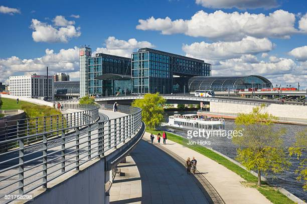 View of Berlin Hauptbahnhof over the River Spree.
