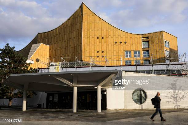 View of Berlin Philharmonic Orchestra hall on the first day of a four-week semi-lockdown during the second wave of the coronavirus pandemic on...