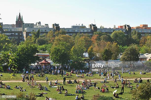 a view of berlin's mauerpark - prenzlauer berg stock photos and pictures