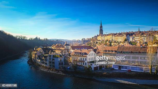view of bern old town over the aare river - switzerland - ベルンカントン ストックフォトと画像