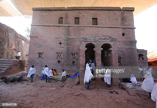 A view of Beta Mariam Church on January 7 2016 in Lalibela Ethiopia Thousands of adhearants to the Ethiopian Orthodox Faith descend upon the...
