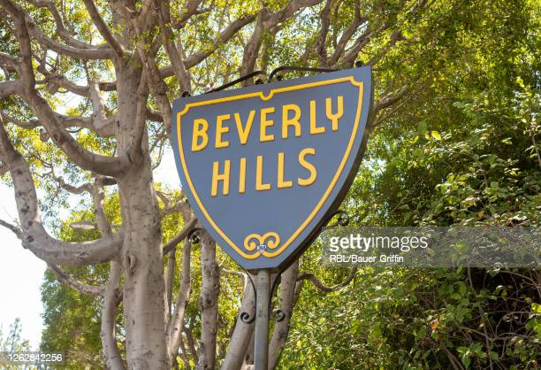 View of Beverly Hills street sign is seen on Sunset Boulevard on July 30, 2020 in Los Angeles, California.