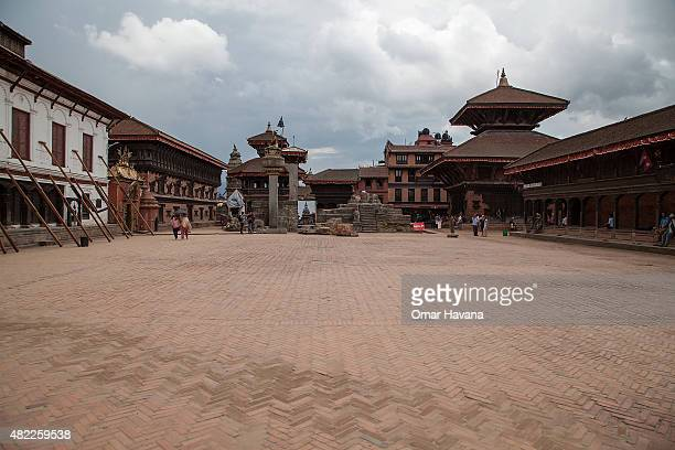 A view of Bhaktapur's Durbar Square empty of tourists and residents on July 29 2015 in Bhaktapur Nepal Three months after the earthquake that hit...