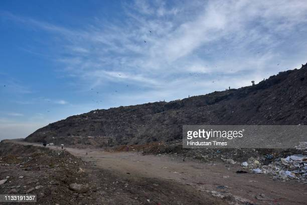 A view of Bhalswa Landfill site on March 27 2019 in New Delhi India