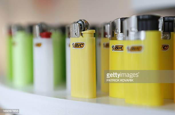 A view of Bic lighters setup in a store in Paris on May 23 to mark the 40th anniversary of the founding of the company AFP PHOTO / PATRICK KOVARIK