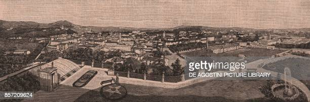 View of Biella Piedmont Italy woodcut from Le cento citta d'Italia illustrated monthly supplement of Il Secolo Milan 1890