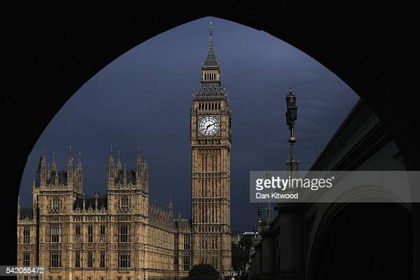 A view of Big Ben and The Houses of Parliament on June 22 2016 in London United Kingdom The UK goes to the polls on tomorrow June 23 to decide...