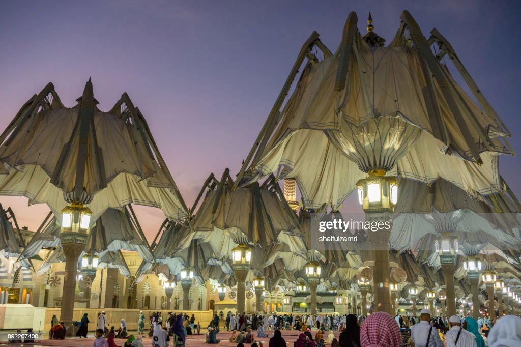 View of big umbrella in Mosque Al-Nabawi, Medina : Stock Photo