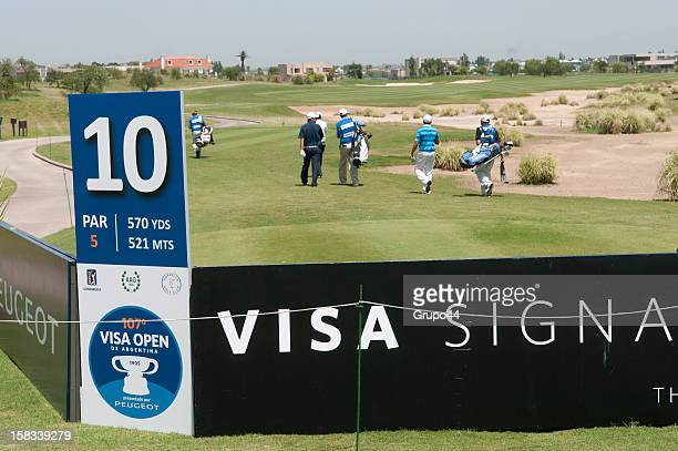 View of billboards during the opening day of the 107 Visa Golf Open presented by Peugeot as part of the PGA Latin America at Nordelta Golf Club on...