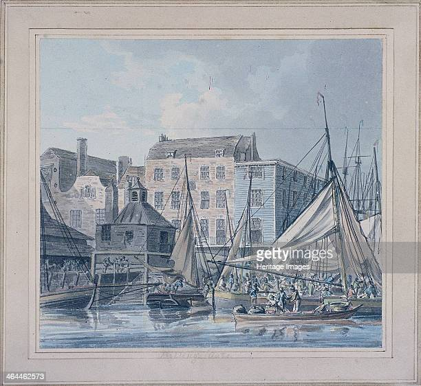 View of Billingsgate wharf London c1790 with figures and vessels