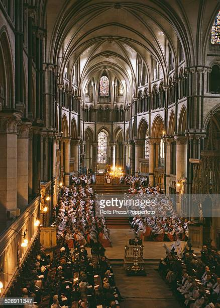 View of Bishops attending a service presided over by Geoffrey Fisher Archbishop of Canterbury at Canterbury Cathedral England to open the eighth...
