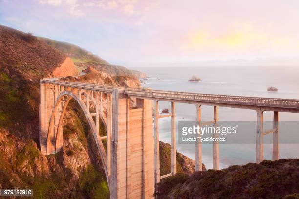 view of bixby creek bridge, california, usa - bixby bridge stock photos and pictures